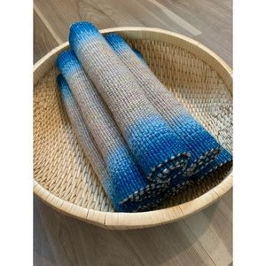 6 vintage blue & tan hand knit wool placemats